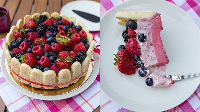 Нежный торт с малиной