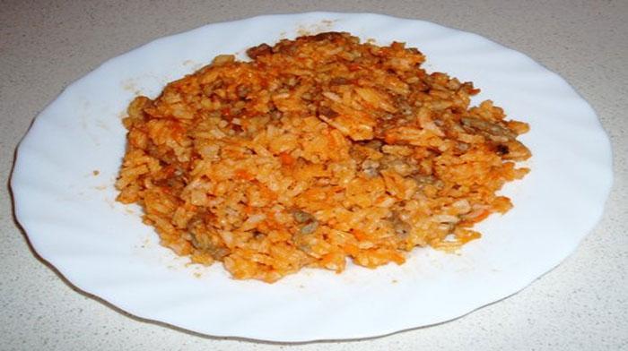 Быстрый рис с мясным фаршем