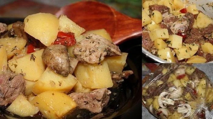Мясо с картофелем, запеченные в рукаве