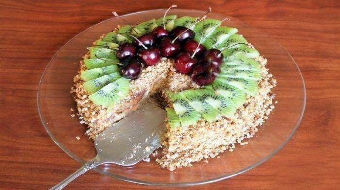 Холодный торт с пряниками и сметаной