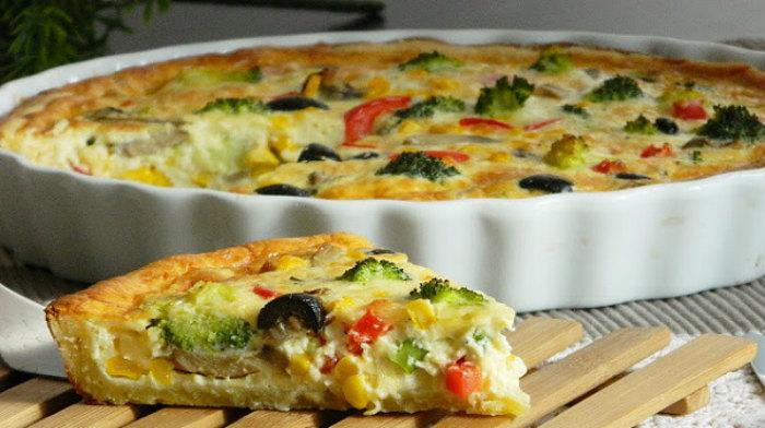 Быстрый пирог с овощами
