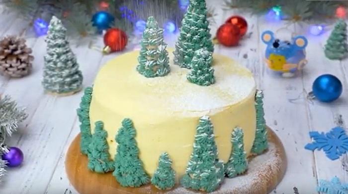Ванильный торт «Заснеженный лес»
