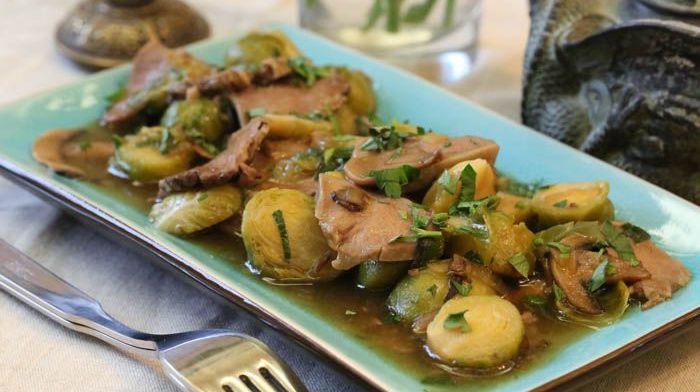 рагу овощей с мясом (из свиного языка с грибами)