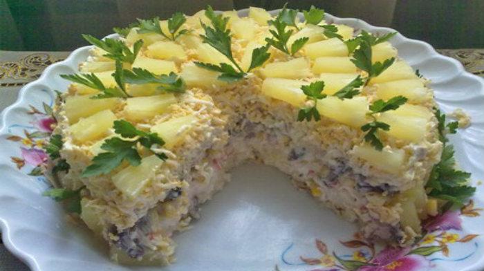 """Торт-салат """"Чудо-слойка"""" с ананасами"""